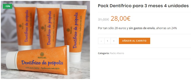 pack dentífrico natural propol mel